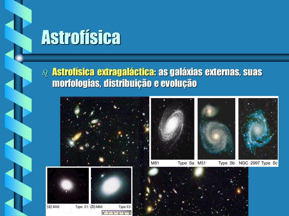 Astrofísica Astrofísica extragaláctica: as galáxias externas, suas morfologias, distribuição e evolução.