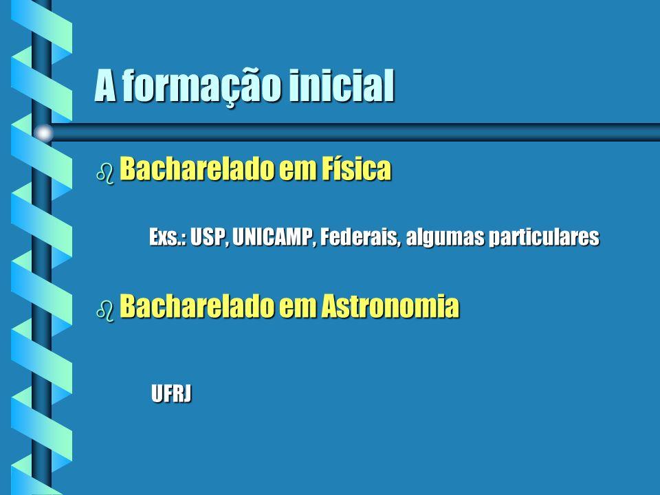 A formação inicial Bacharelado em Física Bacharelado em Astronomia