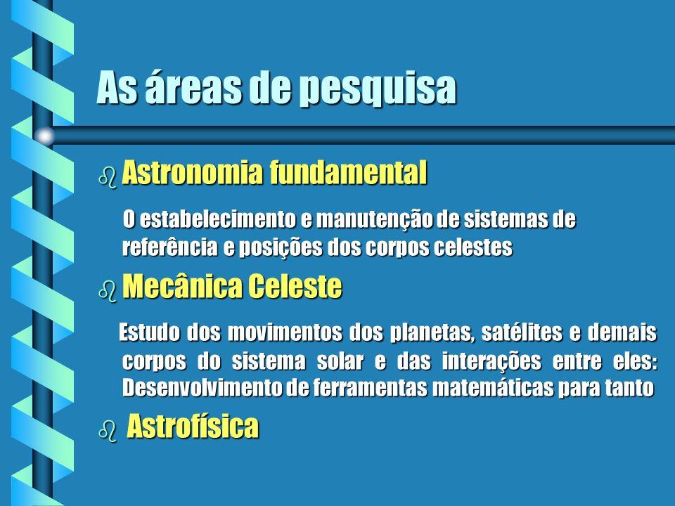 As áreas de pesquisa Astronomia fundamental
