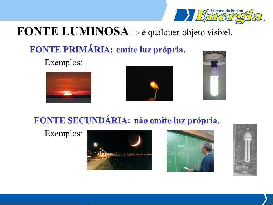 FONTE LUMINOSA  é qualquer objeto visível.