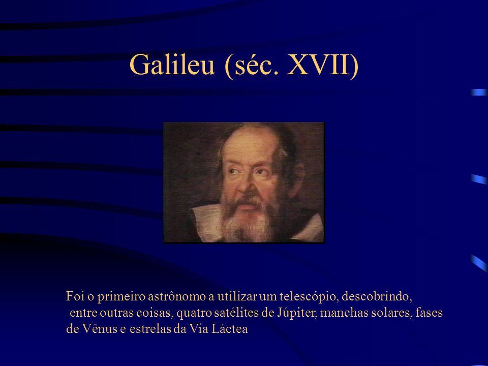 Galileu (séc. XVII) Foi o primeiro astrônomo a utilizar um telescópio, descobrindo,