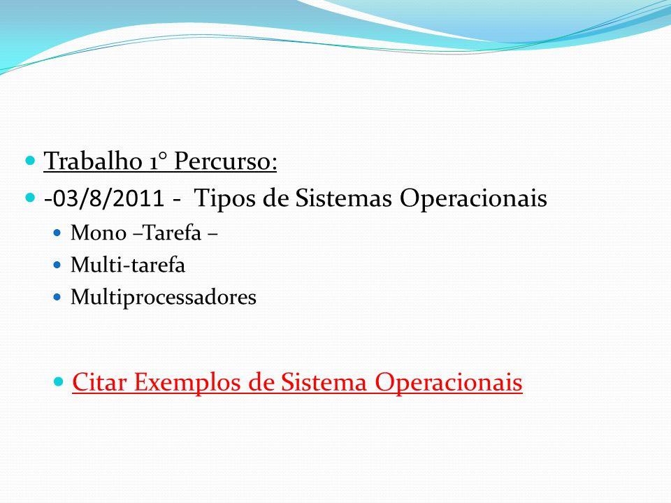 -03/8/2011 - Tipos de Sistemas Operacionais