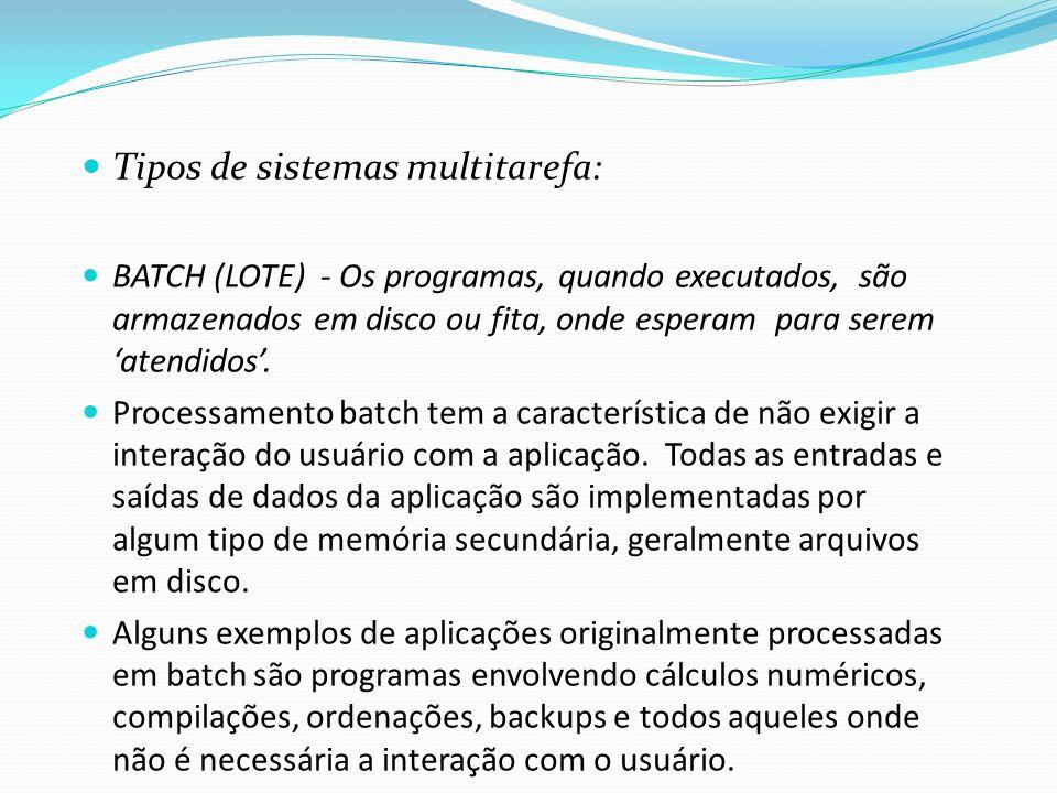Tipos de sistemas multitarefa: