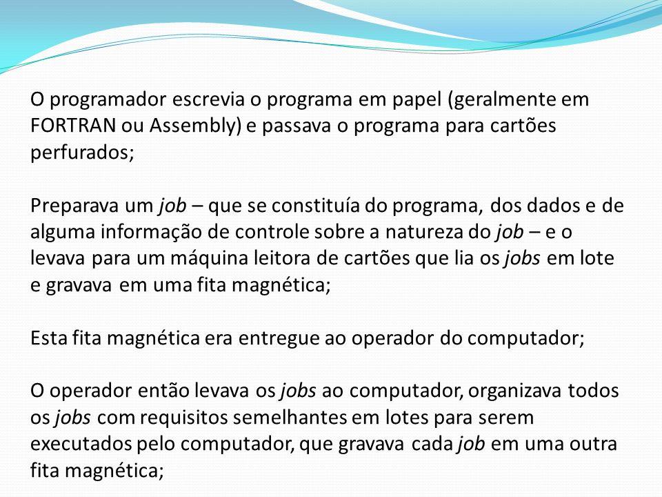 O programador escrevia o programa em papel (geralmente em FORTRAN ou Assembly) e passava o programa para cartões perfurados;