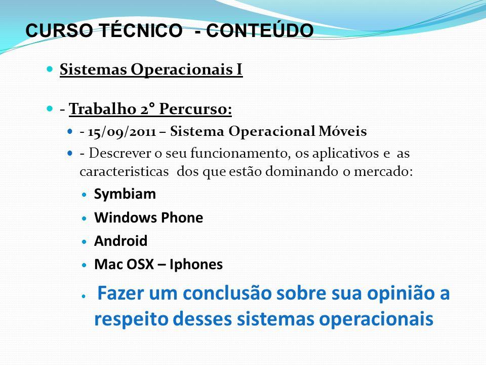 CURSO TÉCNICO - CONTEÚDO