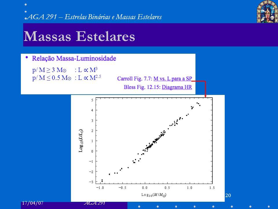 Massas Estelares p/ M ≥ 3 M⨀ : L ∝ M3 p/ M ≤ 0.5 M⨀ : L ∝ M2.5