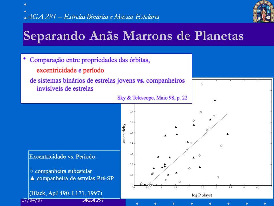 Separando Anãs Marrons de Planetas