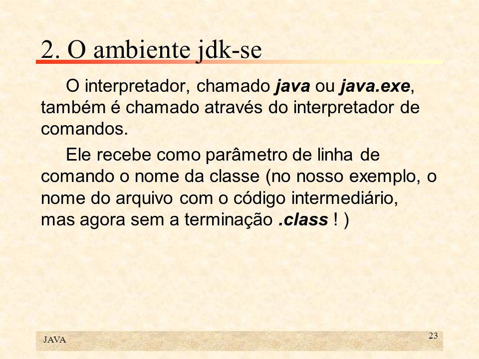 2. O ambiente jdk-se O interpretador, chamado java ou java.exe, também é chamado através do interpretador de comandos.