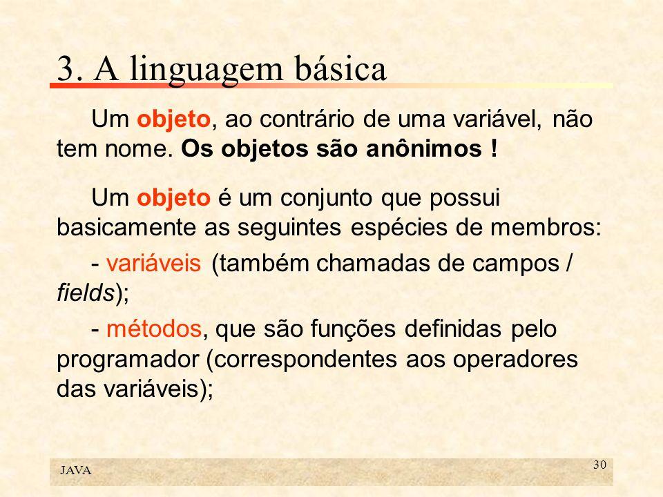 3. A linguagem básica Um objeto, ao contrário de uma variável, não tem nome. Os objetos são anônimos !