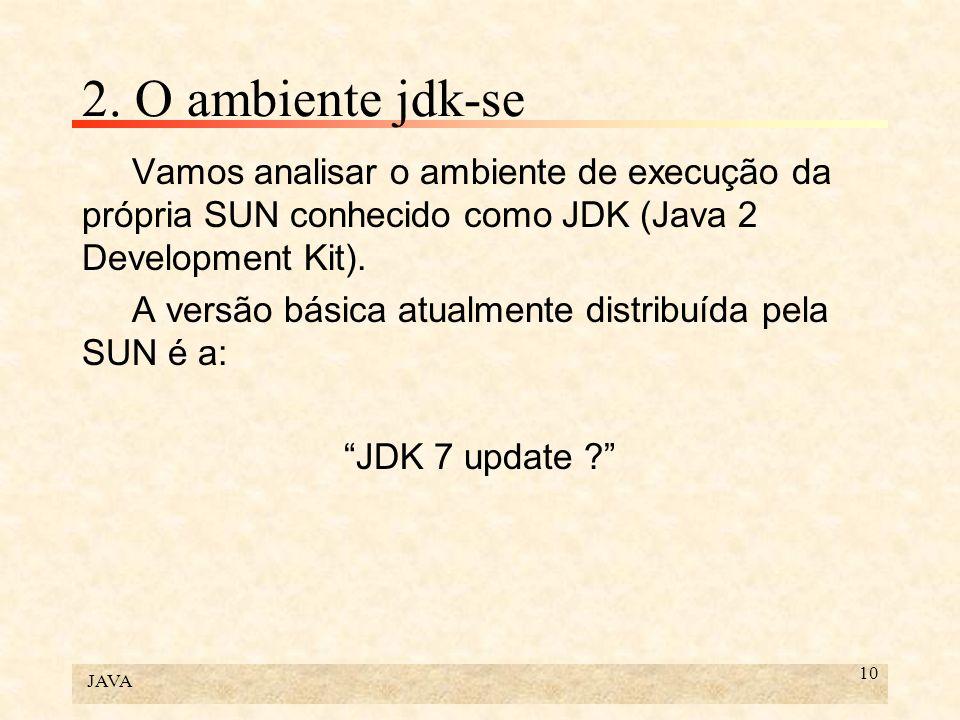 2. O ambiente jdk-se Vamos analisar o ambiente de execução da própria SUN conhecido como JDK (Java 2 Development Kit).