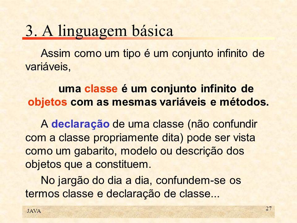 3. A linguagem básica Assim como um tipo é um conjunto infinito de variáveis,