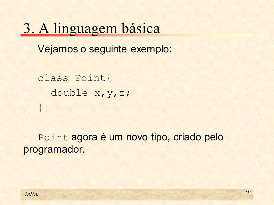 3. A linguagem básica Vejamos o seguinte exemplo: class Point{