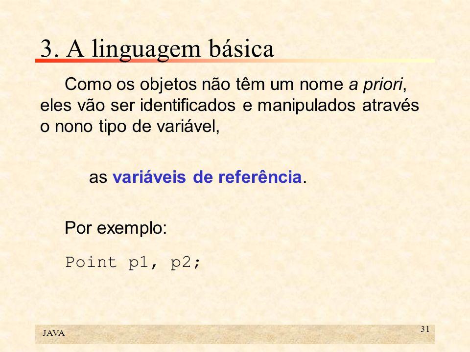 3. A linguagem básica Como os objetos não têm um nome a priori, eles vão ser identificados e manipulados através o nono tipo de variável,