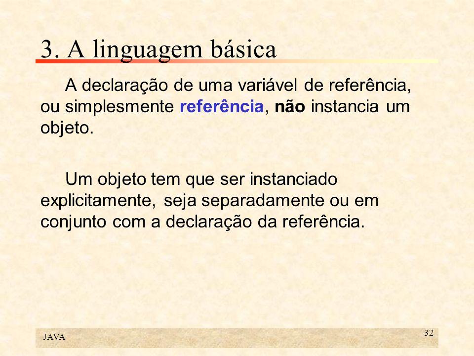 3. A linguagem básicaA declaração de uma variável de referência, ou simplesmente referência, não instancia um objeto.
