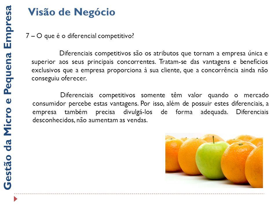 Gestão da Micro e Pequena Empresa Visão de Negócio