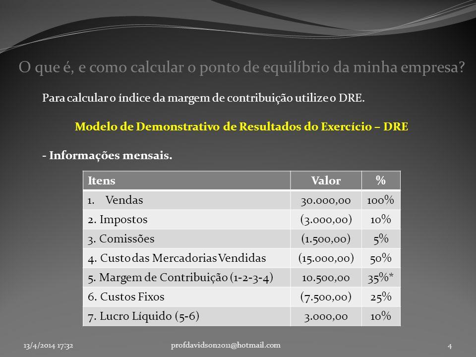 Modelo de Demonstrativo de Resultados do Exercício – DRE