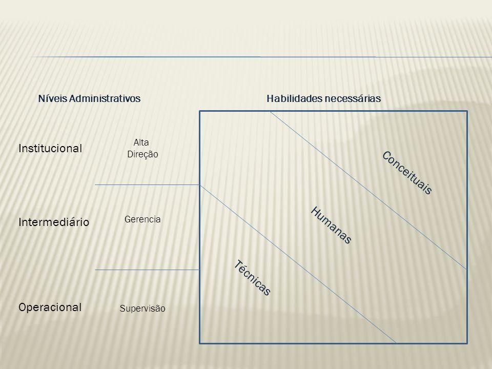 Institucional Conceituais Humanas Intermediário Técnicas Operacional