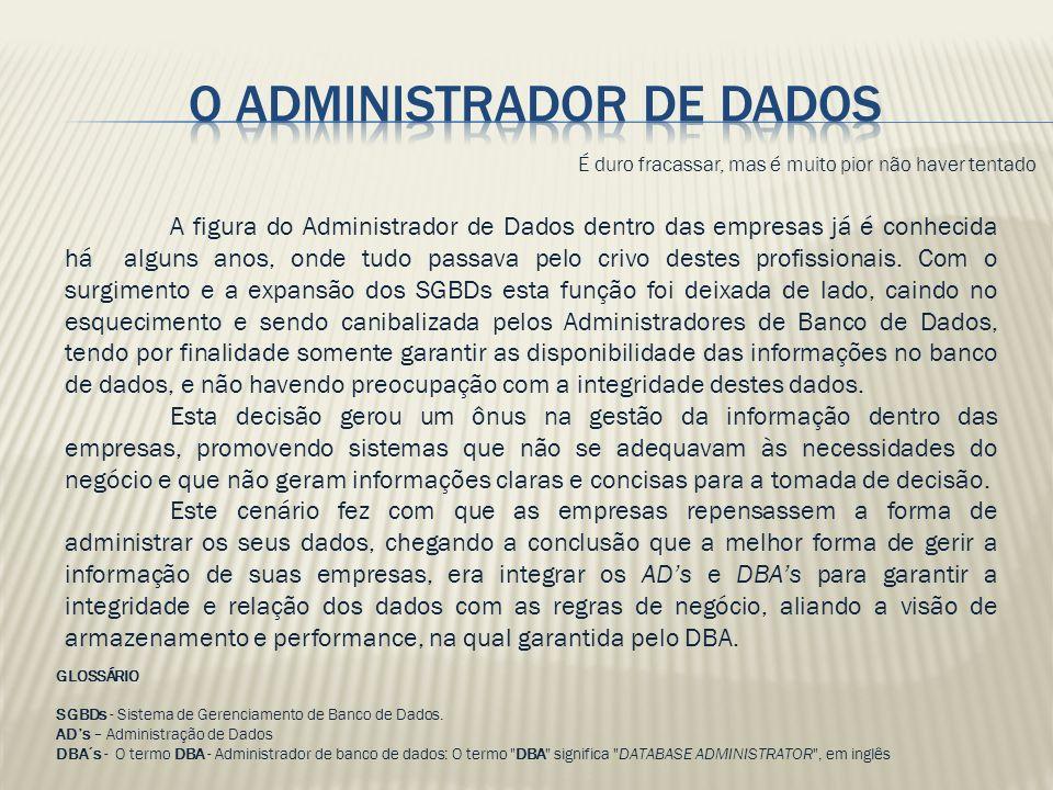 O Administrador de dados