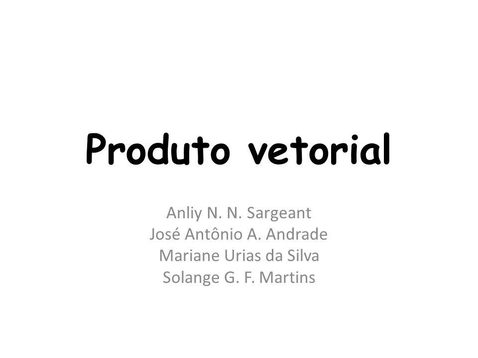 Produto vetorial Anliy N. N. Sargeant José Antônio A. Andrade