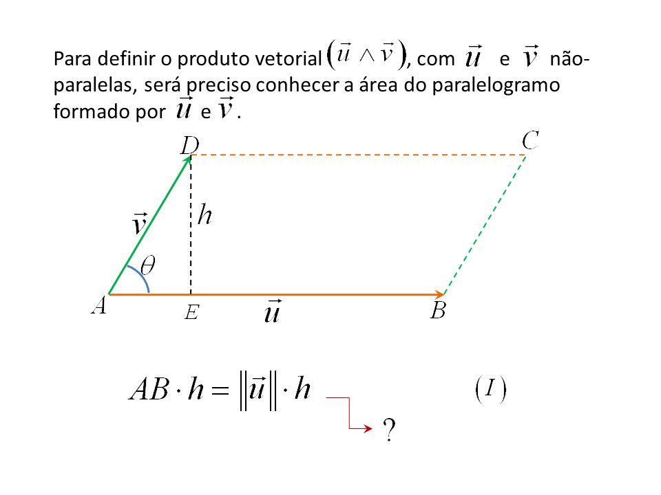 Para definir o produto vetorial , com e não-paralelas, será preciso conhecer a área do paralelogramo formado por e .