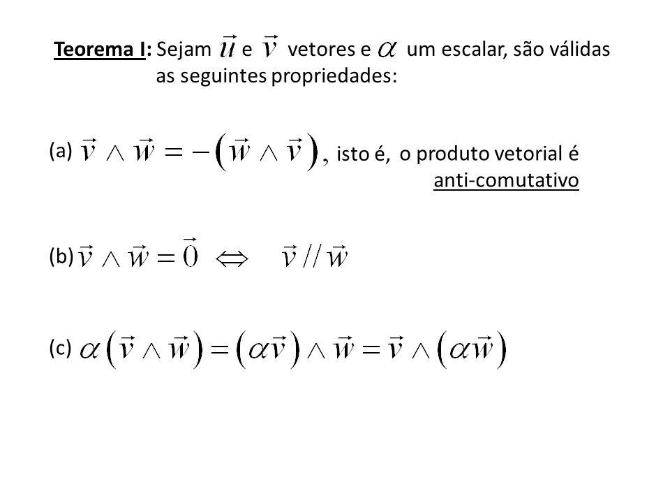 Teorema I: Sejam e vetores e um escalar, são válidas