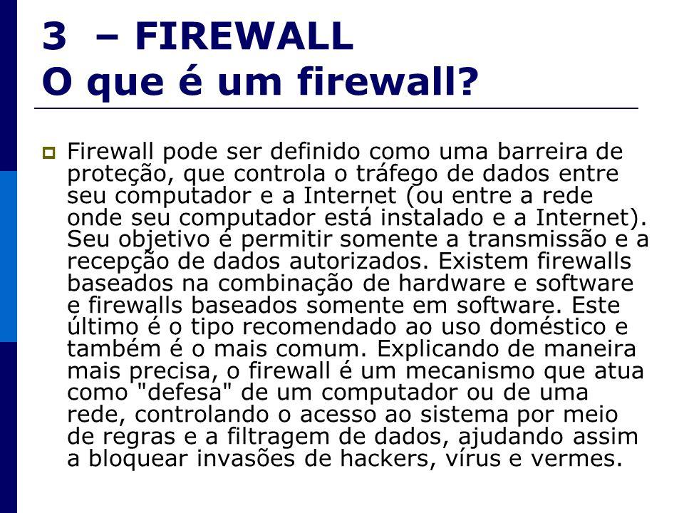 3 – FIREWALL O que é um firewall