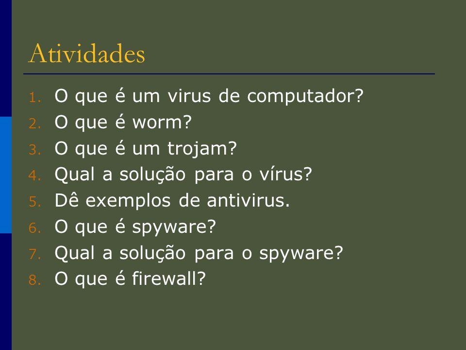 Atividades O que é um virus de computador O que é worm