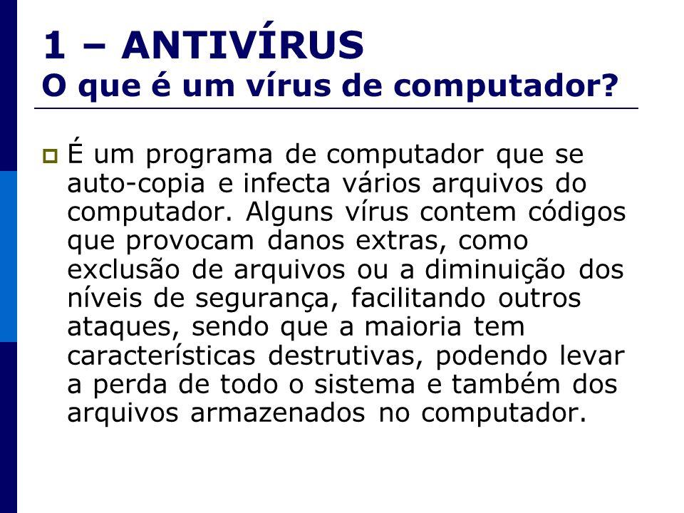1 – ANTIVÍRUS O que é um vírus de computador