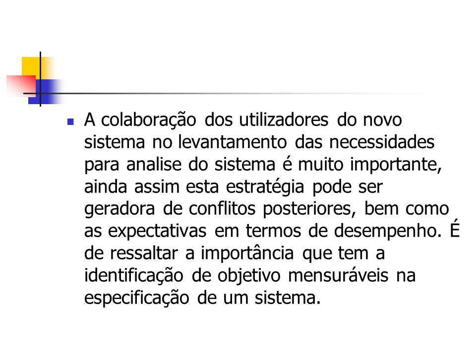 A colaboração dos utilizadores do novo sistema no levantamento das necessidades para analise do sistema é muito importante, ainda assim esta estratégia pode ser geradora de conflitos posteriores, bem como as expectativas em termos de desempenho.