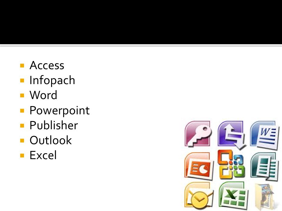 Access Infopach Word Powerpoint Publisher Outlook Excel