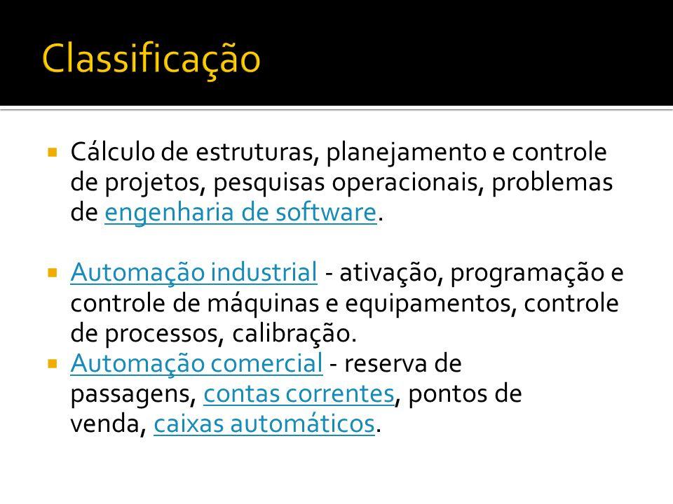 Classificação Cálculo de estruturas, planejamento e controle de projetos, pesquisas operacionais, problemas de engenharia de software.