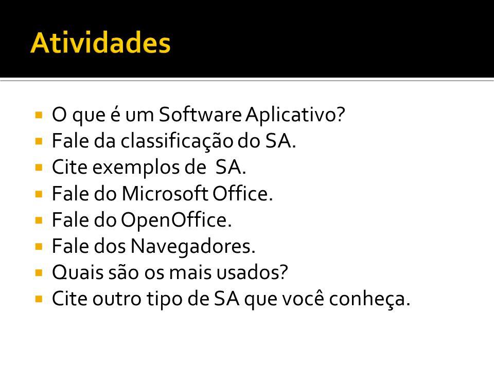 Atividades O que é um Software Aplicativo