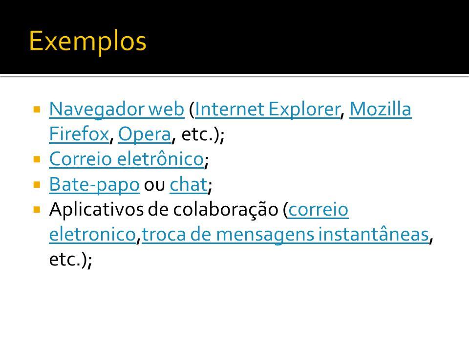 Exemplos Navegador web (Internet Explorer, Mozilla Firefox, Opera, etc.); Correio eletrônico; Bate-papo ou chat;