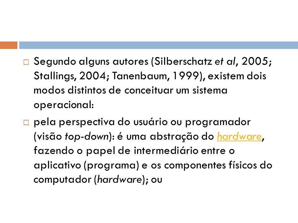 Segundo alguns autores (Silberschatz et al, 2005; Stallings, 2004; Tanenbaum, 1999), existem dois modos distintos de conceituar um sistema operacional: