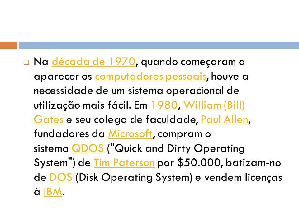Na década de 1970, quando começaram a aparecer os computadores pessoais, houve a necessidade de um sistema operacional de utilização mais fácil.