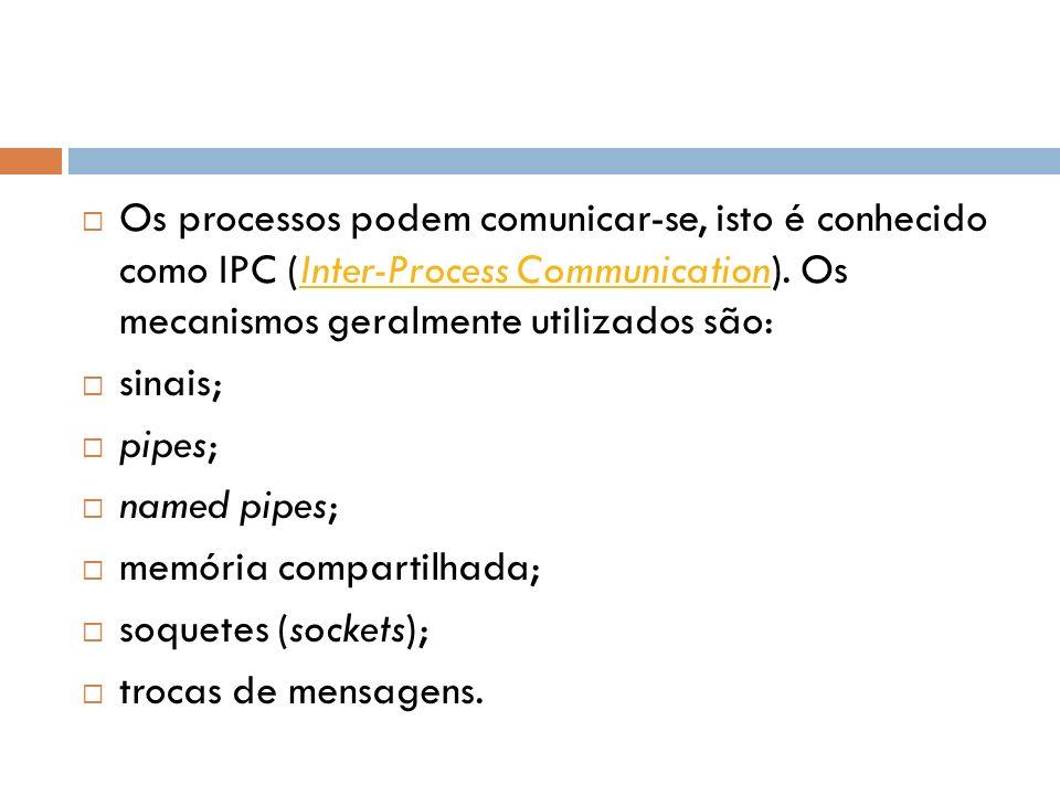 Os processos podem comunicar-se, isto é conhecido como IPC (Inter-Process Communication). Os mecanismos geralmente utilizados são: