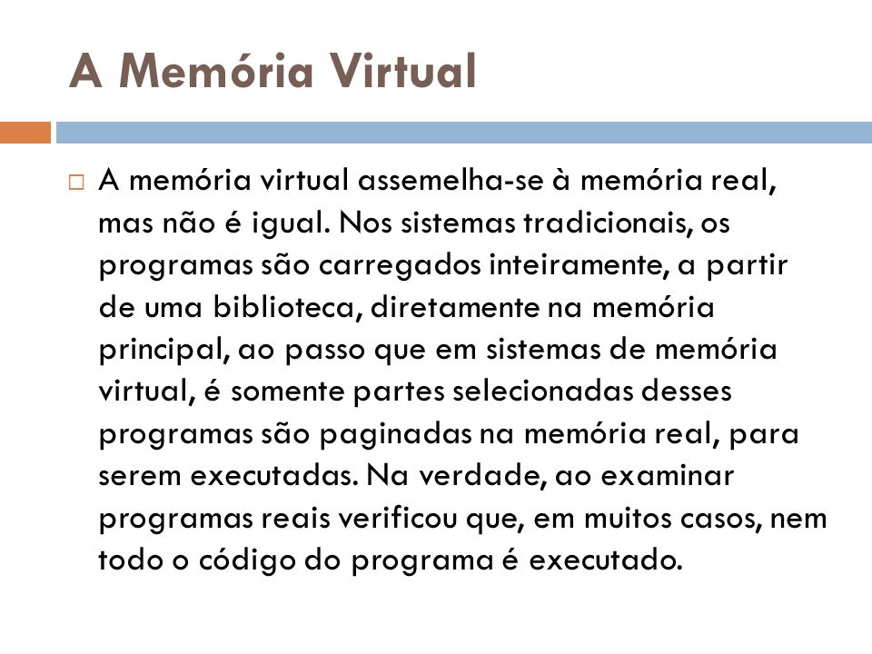 A Memória Virtual
