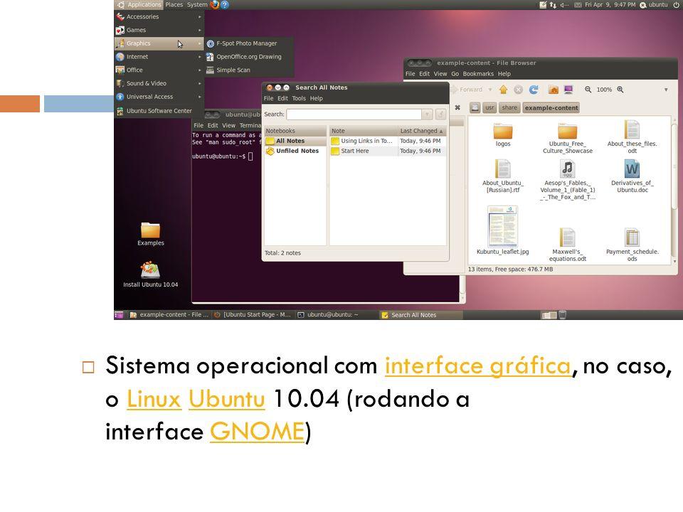 Sistema operacional com interface gráfica, no caso, o Linux Ubuntu 10
