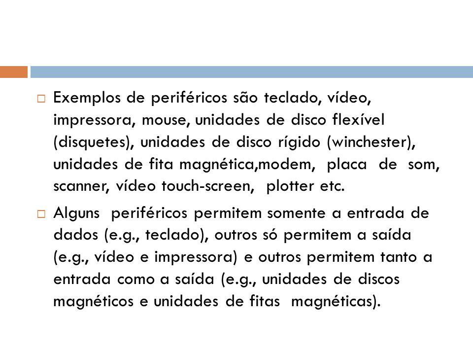 Exemplos de periféricos são teclado, vídeo, impressora, mouse, unidades de disco flexível (disquetes), unidades de disco rígido (winchester), unidades de fita magnética,modem, placa de som, scanner, vídeo touch-screen, plotter etc.