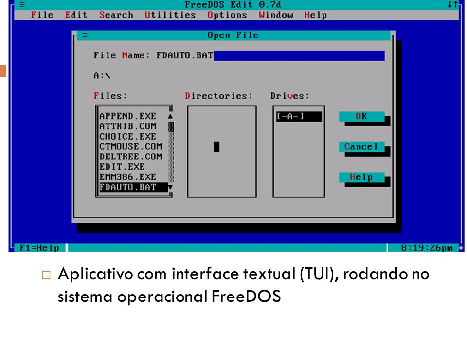 Aplicativo com interface textual (TUI), rodando no sistema operacional FreeDOS