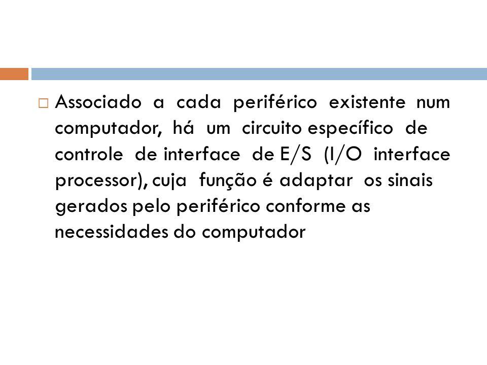 Associado a cada periférico existente num computador, há um circuito específico de controle de interface de E/S (I/O interface processor), cuja função é adaptar os sinais gerados pelo periférico conforme as necessidades do computador