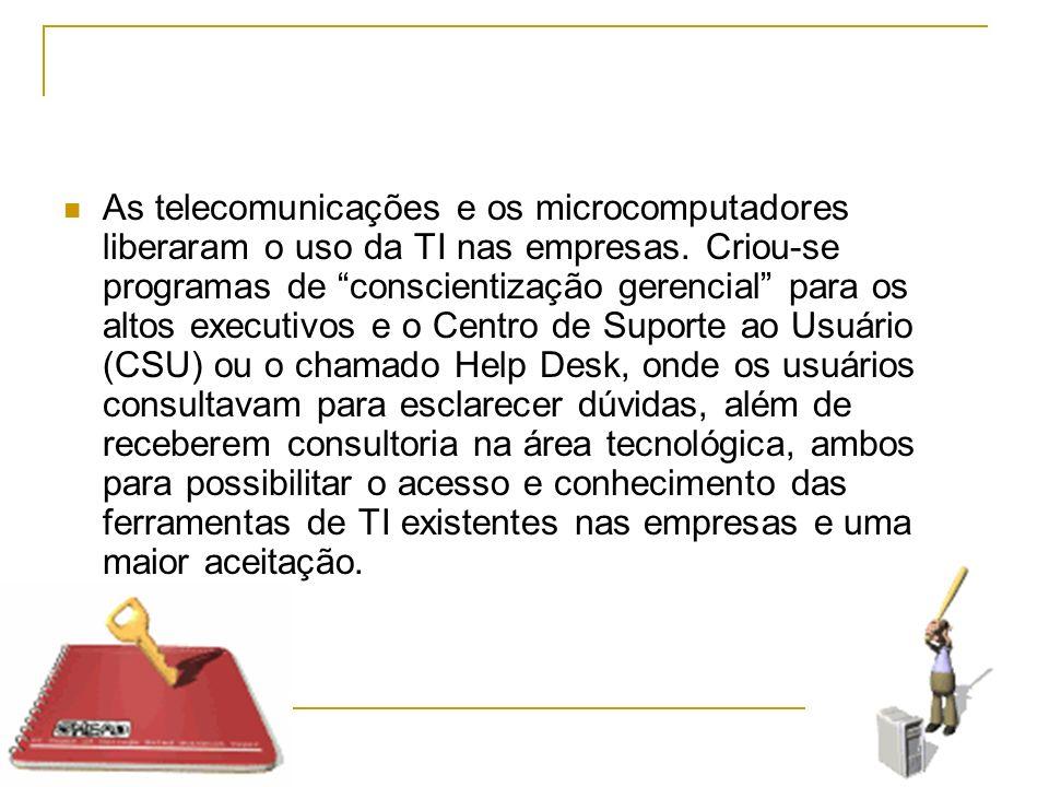 As telecomunicações e os microcomputadores liberaram o uso da TI nas empresas.