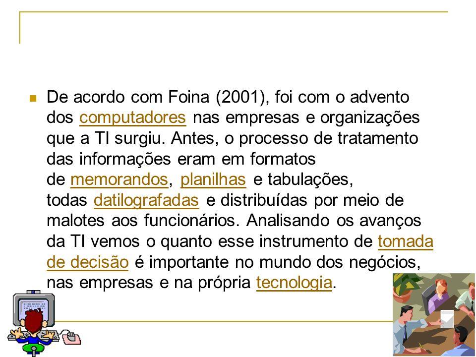 De acordo com Foina (2001), foi com o advento dos computadores nas empresas e organizações que a TI surgiu.