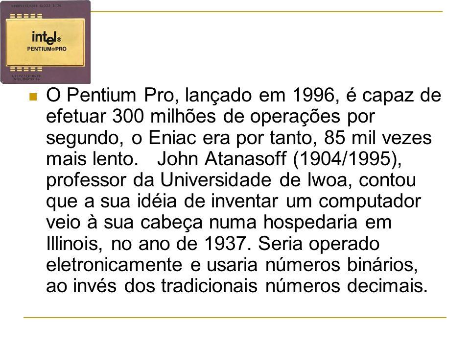 O Pentium Pro, lançado em 1996, é capaz de efetuar 300 milhões de operações por segundo, o Eniac era por tanto, 85 mil vezes mais lento.