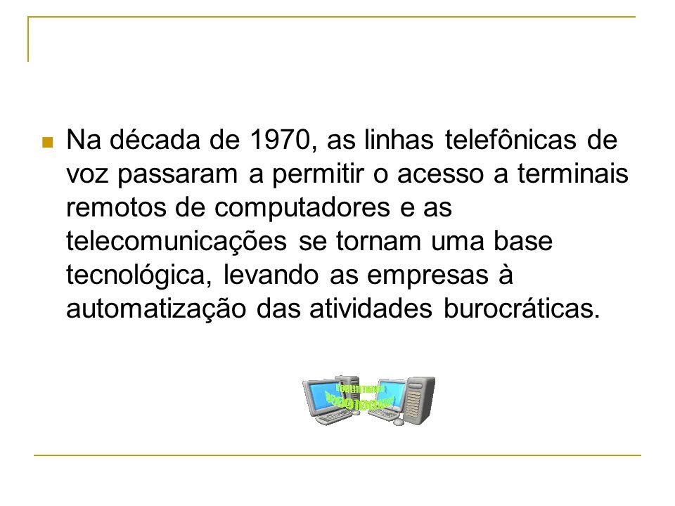 Na década de 1970, as linhas telefônicas de voz passaram a permitir o acesso a terminais remotos de computadores e as telecomunicações se tornam uma base tecnológica, levando as empresas à automatização das atividades burocráticas.