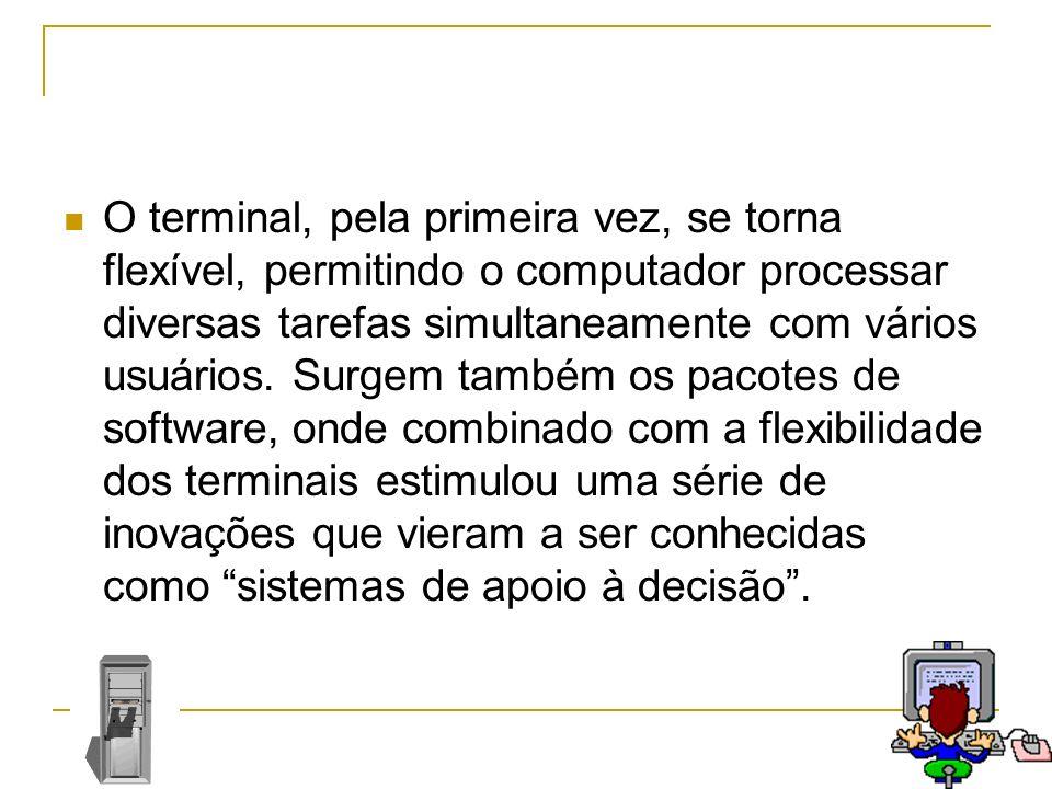 O terminal, pela primeira vez, se torna flexível, permitindo o computador processar diversas tarefas simultaneamente com vários usuários.