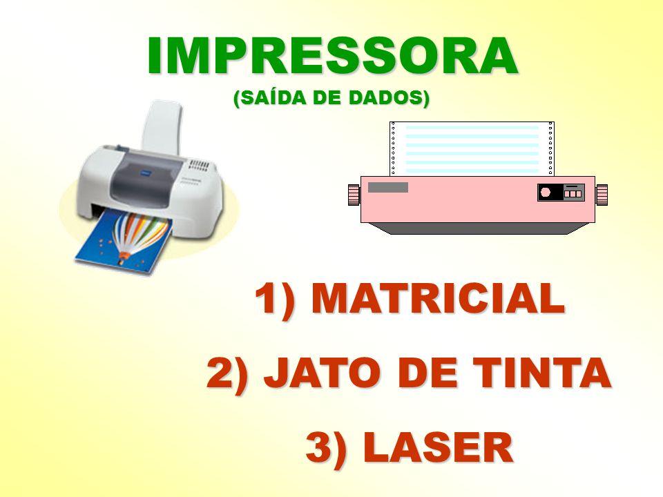 IMPRESSORA (SAÍDA DE DADOS) 1) MATRICIAL 2) JATO DE TINTA 3) LASER