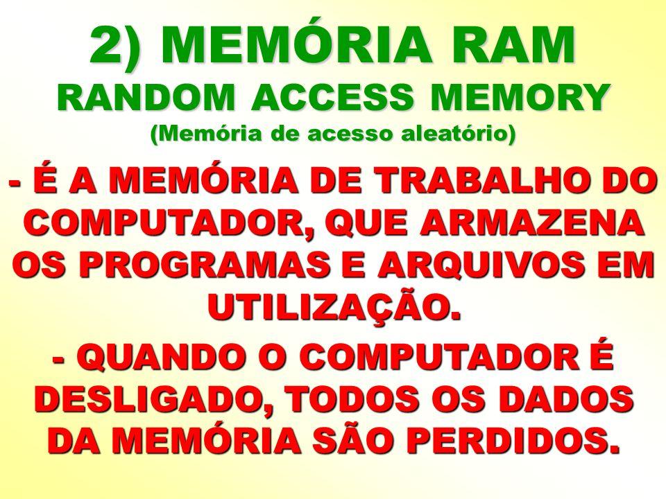 2) MEMÓRIA RAM RANDOM ACCESS MEMORY