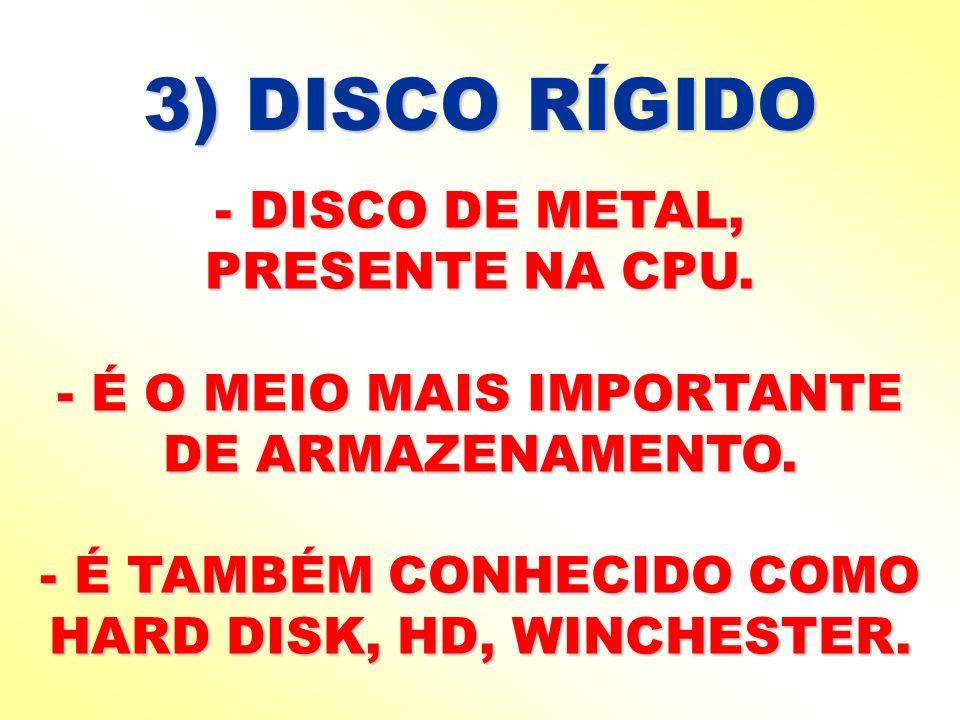 3) DISCO RÍGIDO - DISCO DE METAL, PRESENTE NA CPU.
