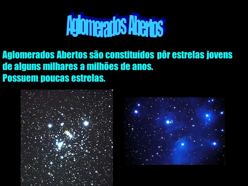 Aglomerados Abertos Aglomerados Abertos são constituídos pôr estrelas jovens. de alguns milhares a milhões de anos.